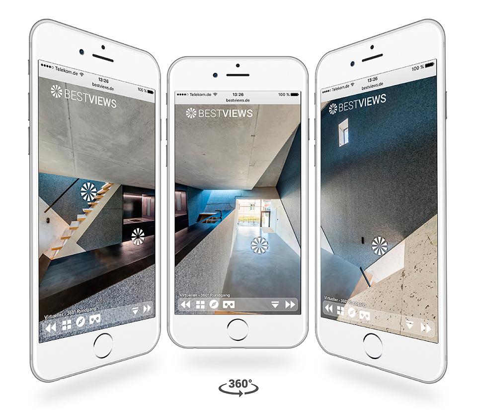 Iphone Darstellung virtueller 360° Rundgang Euroboden Riem