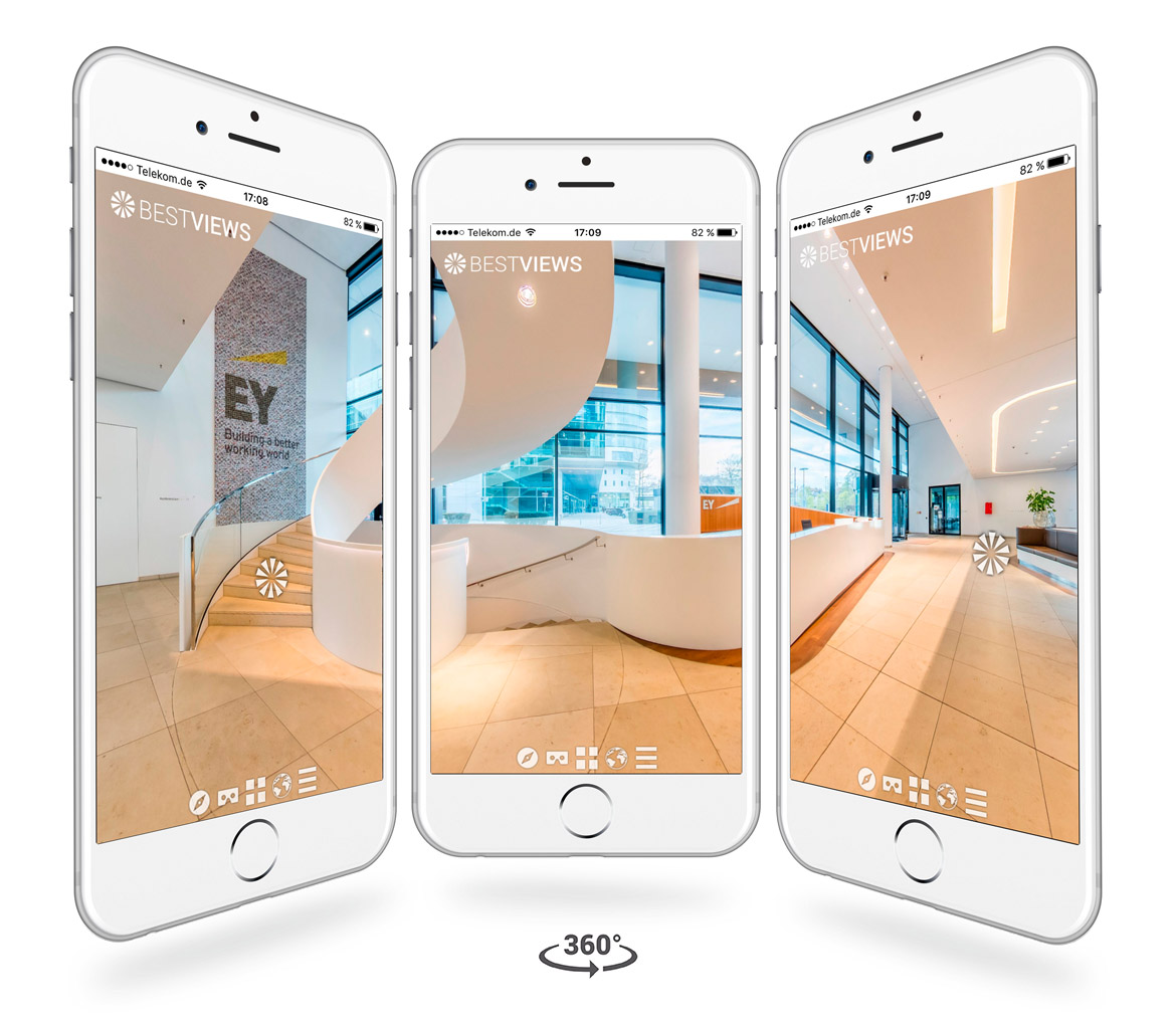 iPhone Darstellung virtueller 360° Grad Luxus Studie Rundgang E&Y