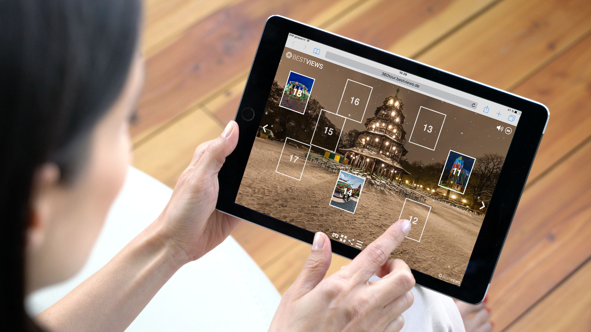 virtueller 360 Grad Adventskalender München bei Schnee mit dem Tablet live erleben