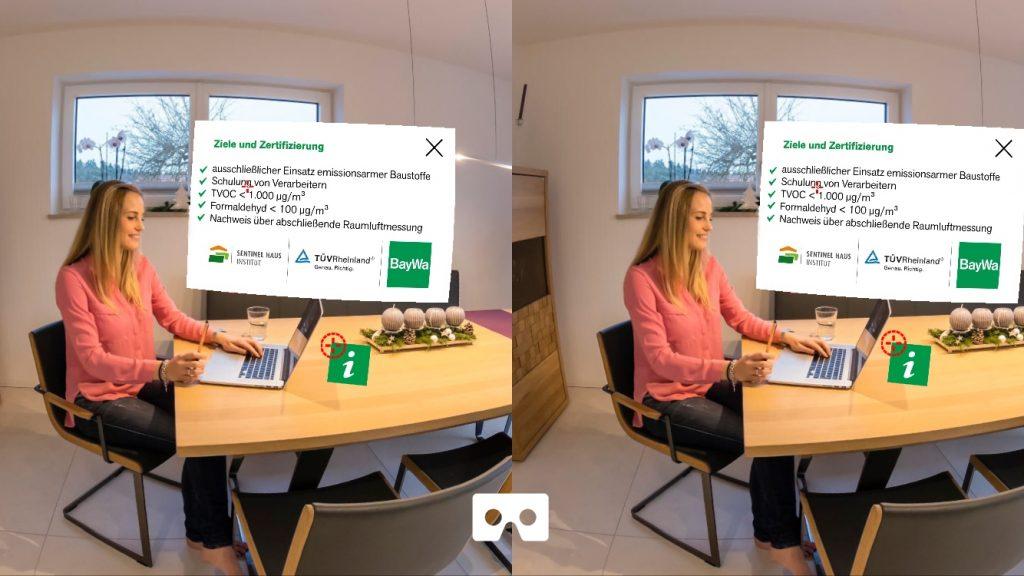 VR Mode Popup Bild und Text