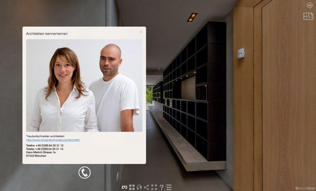 Kontakt Fenster mit direkter Anruf Funktion