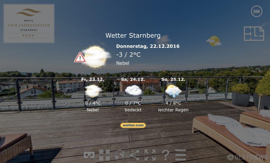 Aktueller Wetterbericht integriert im 360° Rundgang