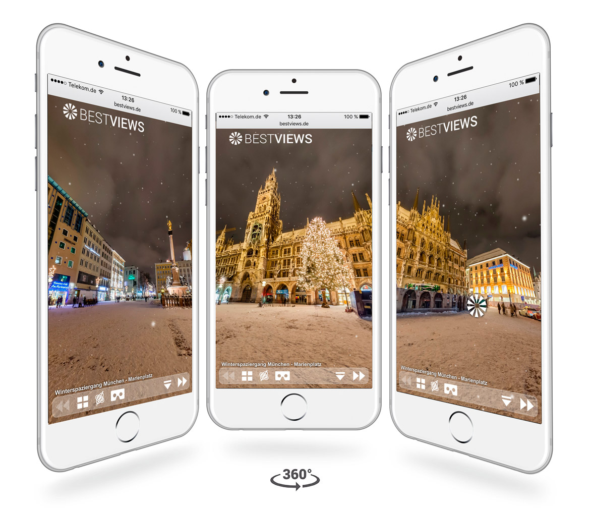 iphone Darstellung virtuelle 360° München Winter Tour von Bestviews