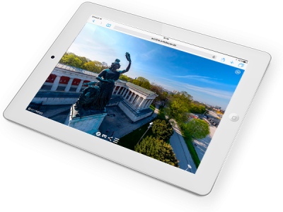 iPad Darstellung virtueller 360° Grad Drohnen Flug