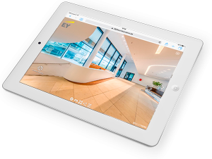 iPad Darstellung virtueller 360° Grad Luxus Studie Rundgang E&Y