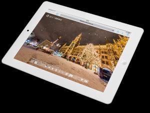 iPad Darstellung virtuelle 360° München Winter Tour von Bestviews