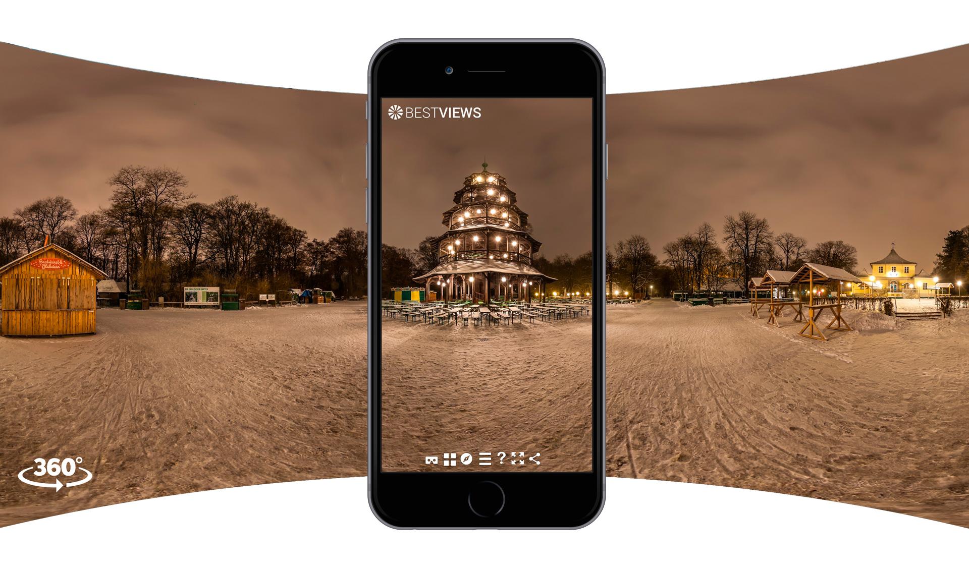virtuelles 360 Grad Panorama vom Chinesischen Turm bei Schnee mit dem Smartphone live erleben