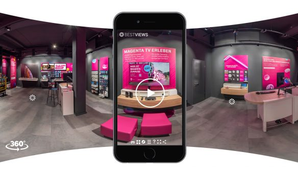 virtueller 360 Grad Shop Telekom mit dem Smartphone erleben